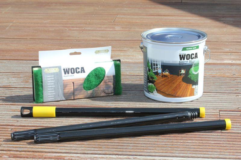 Hier sehen Sie eine ideale Zusammenstellung der geeigneten Artikel für die Ölbehandlung. Das Woca Terrassenöl ist ein extra  konzipiertes Öl für draußen. Für die Nachpolitur ist eine Poliermaschine sinnvoll.