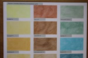 So kann z.B. Sumpfkalkfarbe farbig lasiert werden